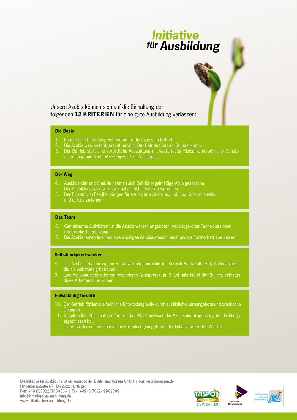 12 Kriterien für Ausbildung